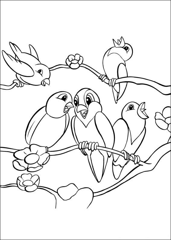 Раскраска певчей птички