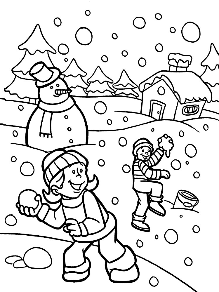 Зима раскраски для детей распечатать