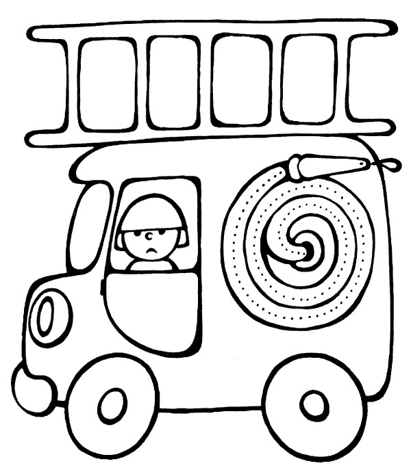 Раскраски пожарной машины для детей - 6