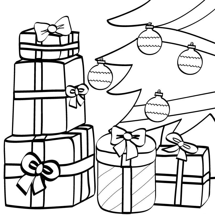 Раскраска новогодний подарок